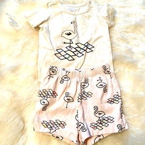 Hanna Andersson flamingo shorts and top size 70